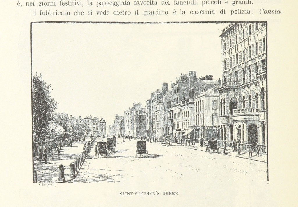 Pen and ink illustration of a street view, from Dublin in the 1890s, showing a park to the left, a main road with carriages and people in the centre, and a row of buildings to the right.